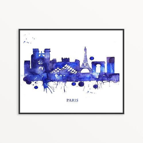 Watercolor Paris City Silhouette