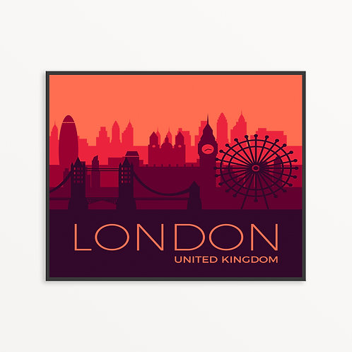 Colorful London City Silhouette v3