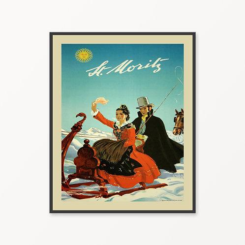 St. Moritz Vintage Travel Poster
