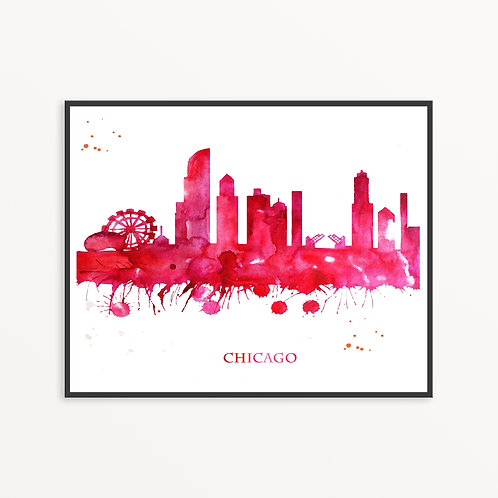 Watercolor Chigo City Silhouette