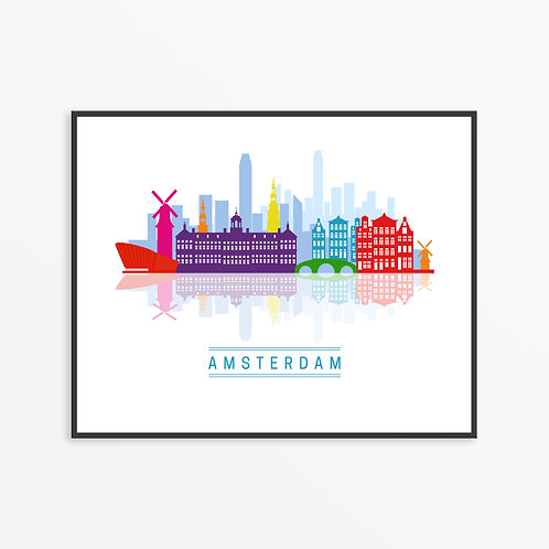 Colorful Amsterdam City Silhouette v2