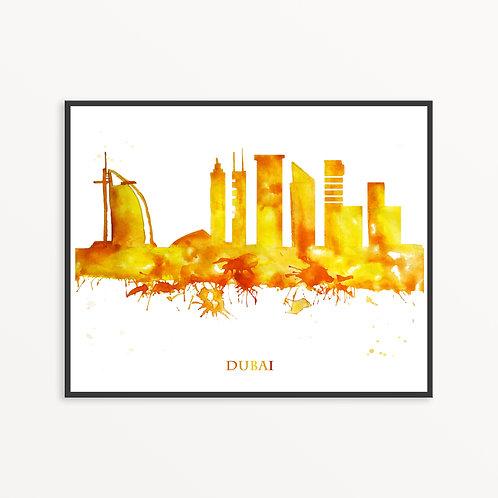 Watercolor Dubai City Silhouette