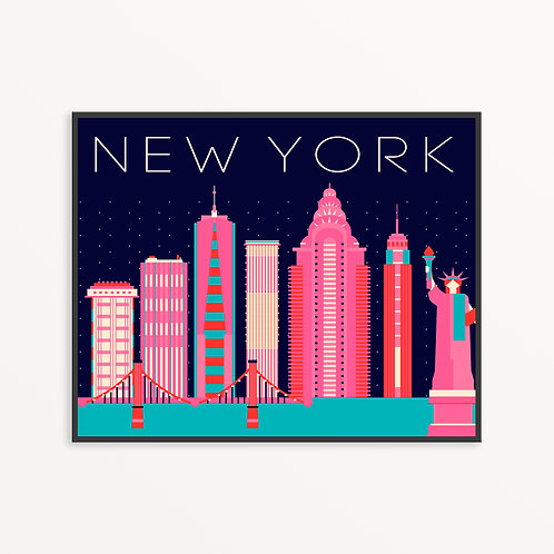 Colorful New York City Silhouette