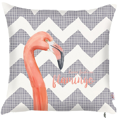Pillow Cover - Flamingo on Grey - 502-8318/1