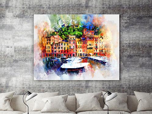Watercolor Homes Large Wall Art