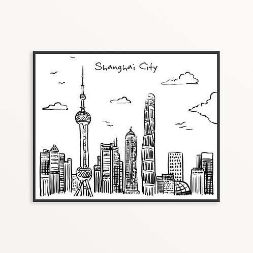 Hand Drawn Shanghai City Silhouette