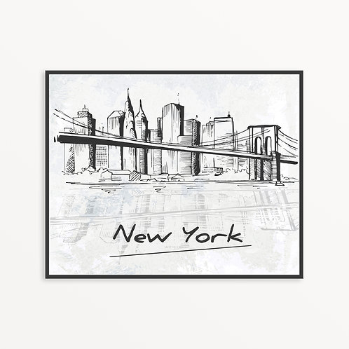 Sketchy New York City Silhouette