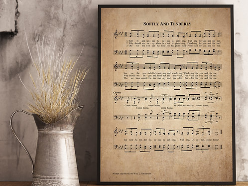 Softly and Tenderly - Hymn Print