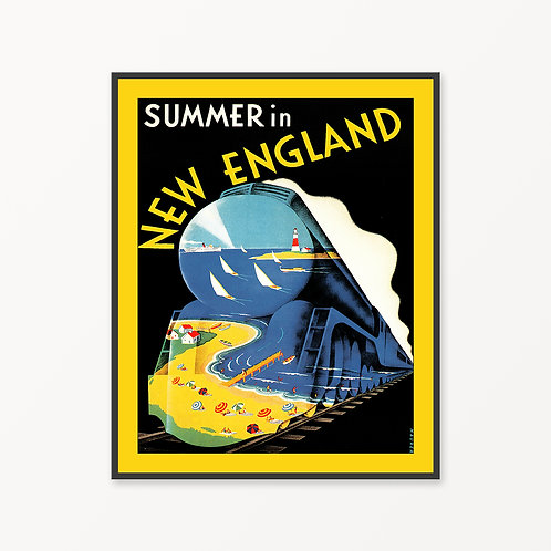 New England Vintage Travel Poster v2