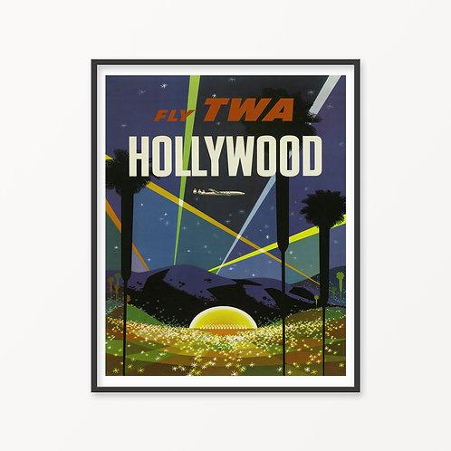 Hollywood Vintage Travel Poster