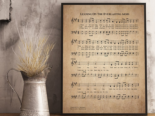 Leaning on The Everlasting Arms - Hymn Print