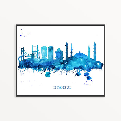 Watercolor Istanbul City Silhouette