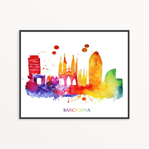Watercolor Barcelona City Silhouette