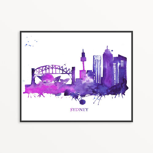 Watercolor Sydney City Silhouette