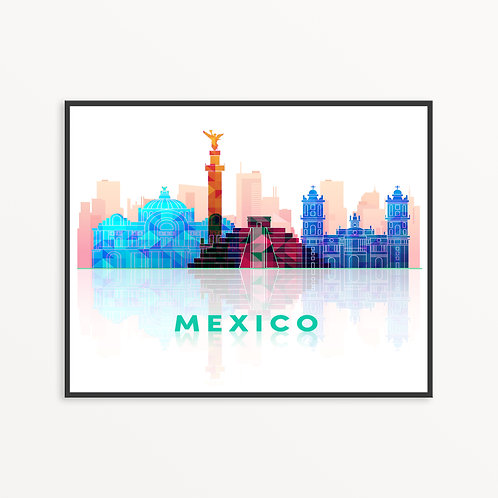 Colorful Mexico Silhouette
