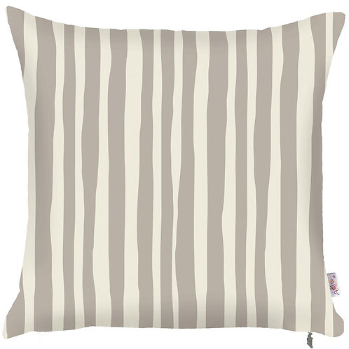 Pillow Cover - Cream Stripes on Grey - 502-8323/2