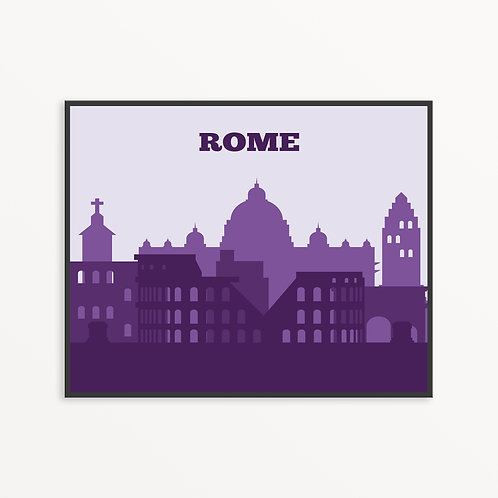 Colorful Rome City Silhouette v3