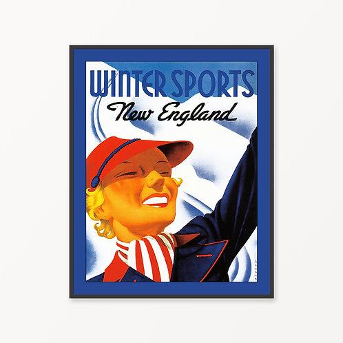 New England Vintage Travel Poster
