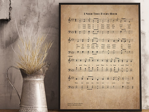 I Need Thee Every Hour - Hymn Print