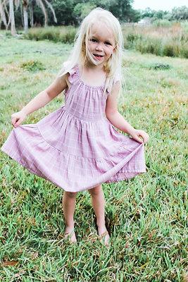 Girls Ruffle Dress in Pink Linen