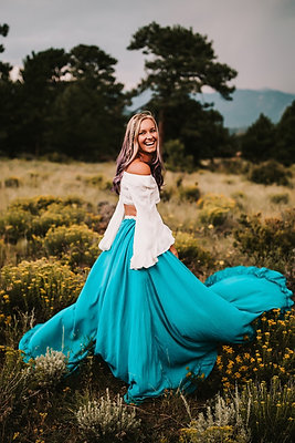 Ruffle Trim Skirt in Jade Blue