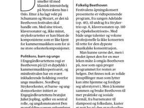 Aftenposten: Anmeldelse av Beethoven på 123: Satser på ungdom og musikalsk nærhet