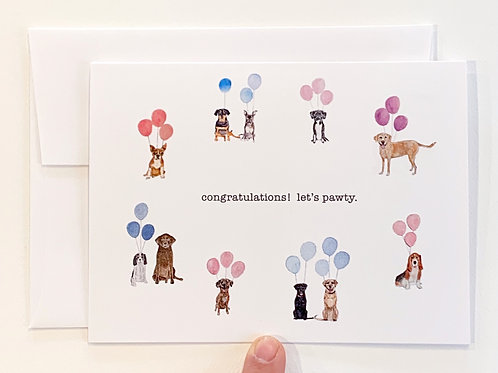 Congratulations! Let's Pawty Greeting Card