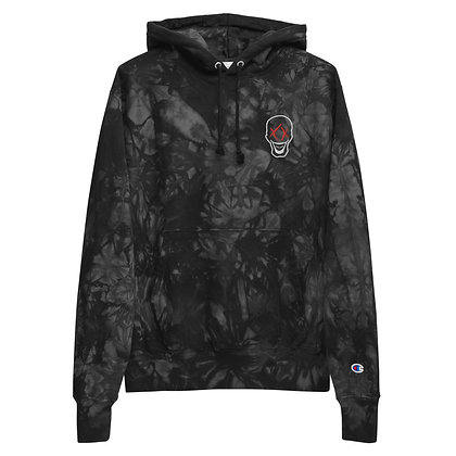 Deads Head Embroidered Unisex Champion tie-dye hoodie