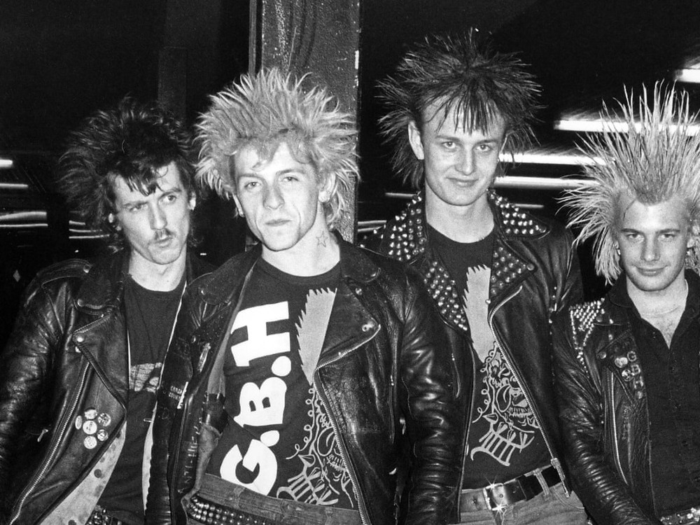 from left, Ross Lomas, Colin Abrahall, Colin Blyth and Scott Preece of GBH. Photograph: Erica Echenberg/Redferns