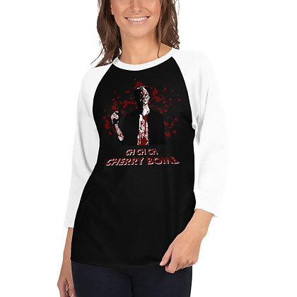 huey from the boys, cherry bomb design, heavy metal 3/4 sleeve shirt for women