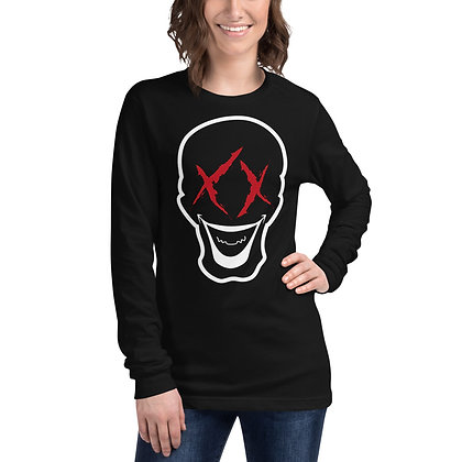 dead head merchandise logo printed on black long sleeve goth shirt for women