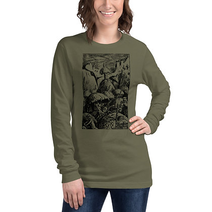 Dead head merchandise vintage gnomes and fairies, faeries black print on olive long sleeve shirt for women
