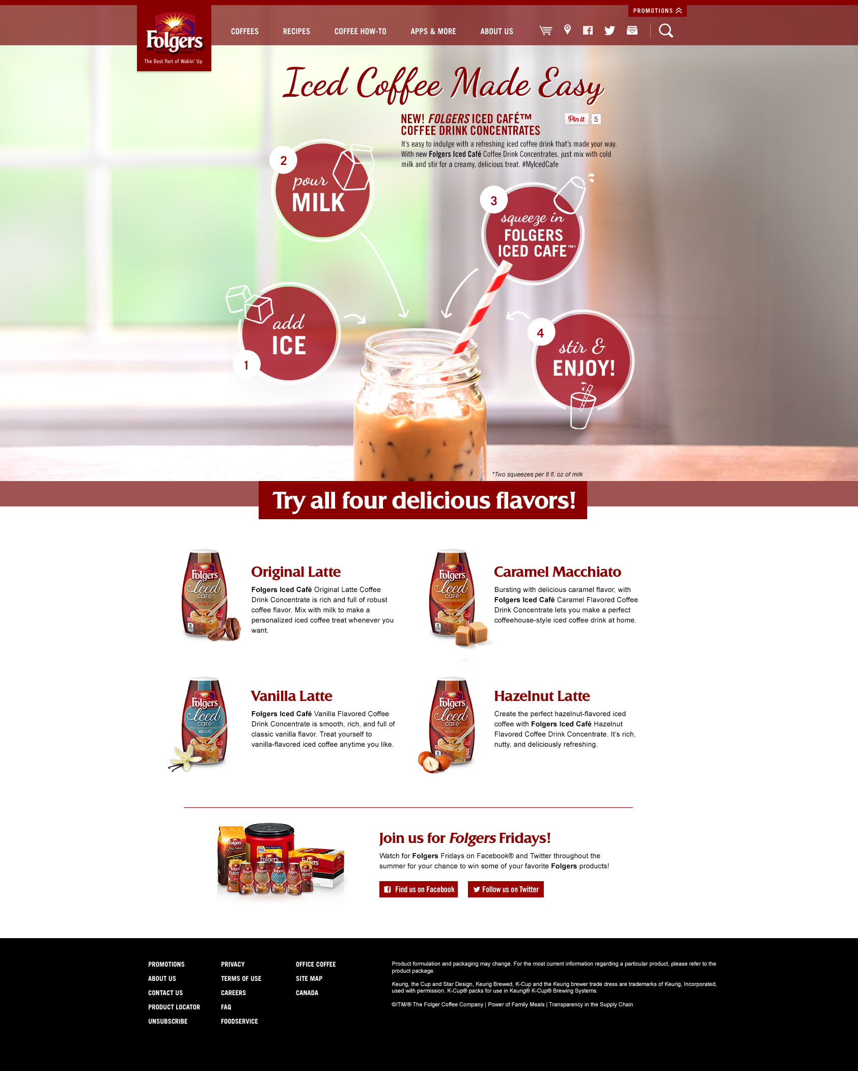 Folgers Iced Cafe Splash Page
