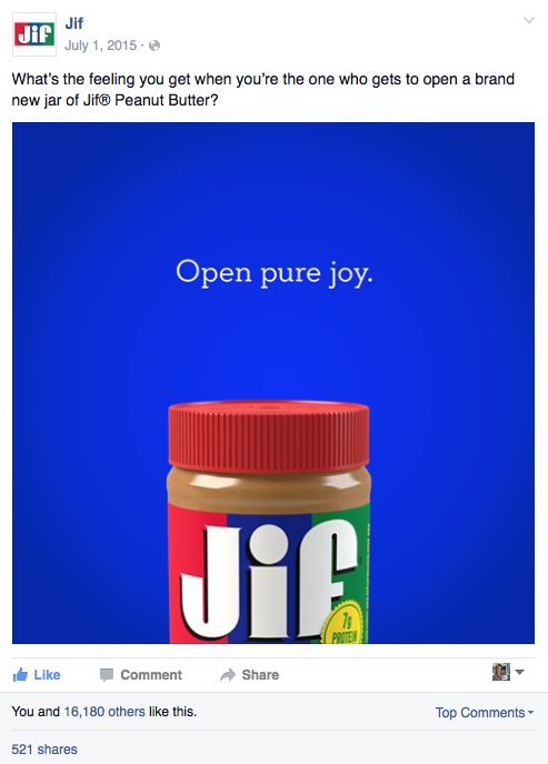 Jif Peanut Butter Facebook Post
