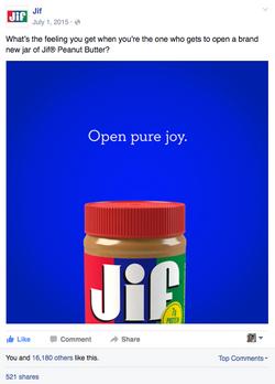 Jif Peanut Butter Facebook Post