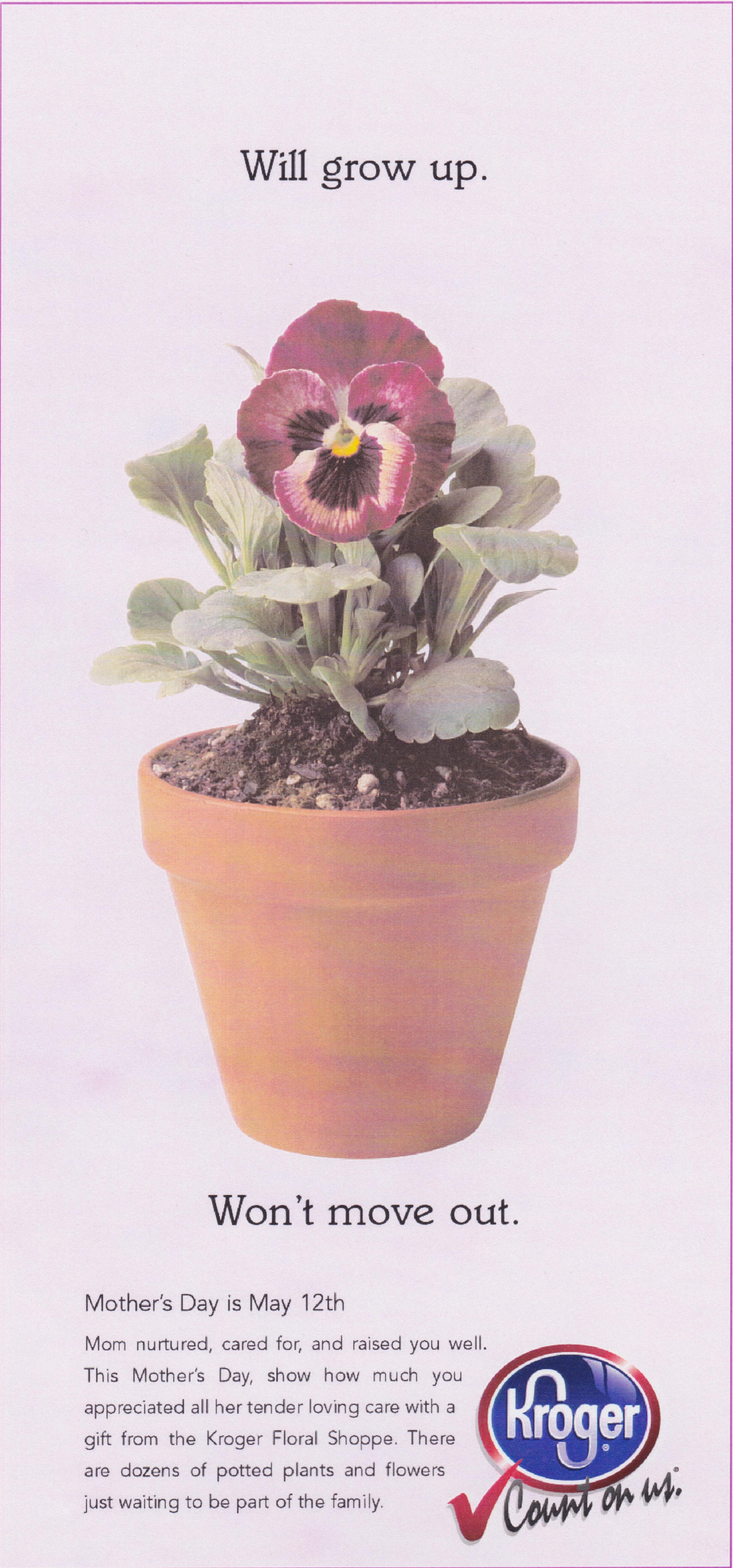 Kroger Flower Shoppe Print Ad