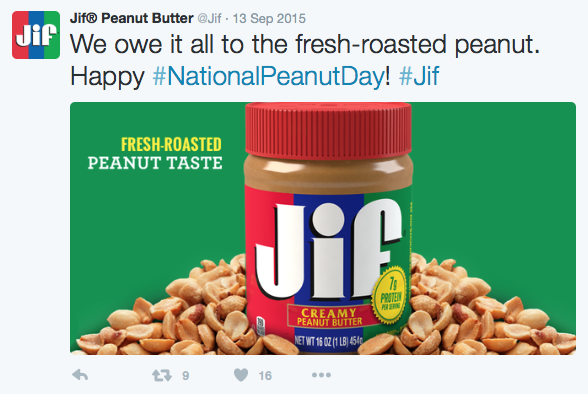 Jif Peanut Butter Twitter Post
