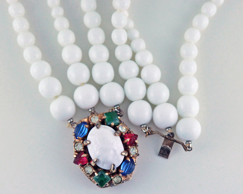 Vintage michael paul white milk glass beads necklacechoker with for your consideration we are offering a vintage michael paul white milk glass beads necklacechoker with colored stones this is a beautiful vintage aloadofball Choice Image