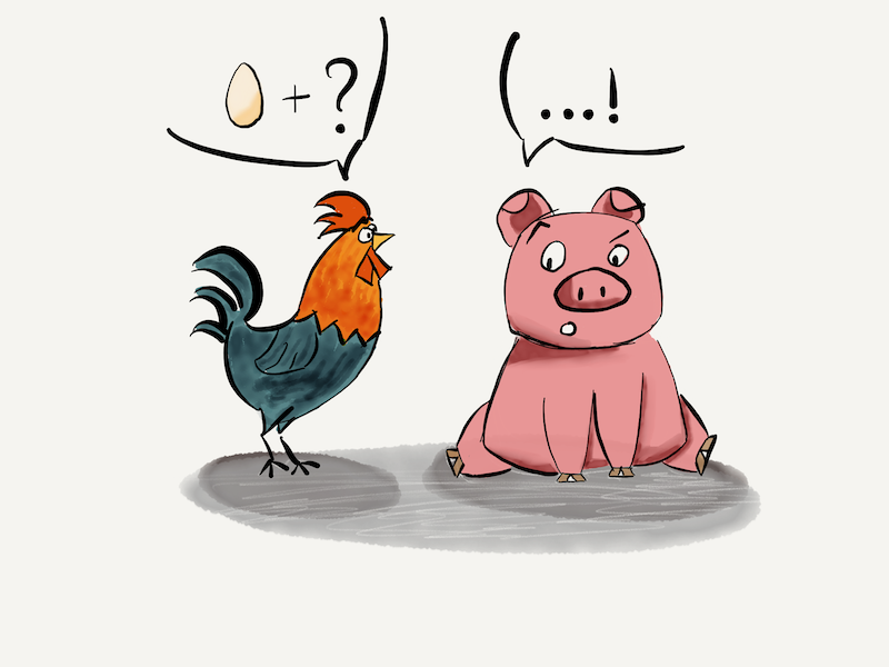 Chicken and Pig discussing bacon and eggs