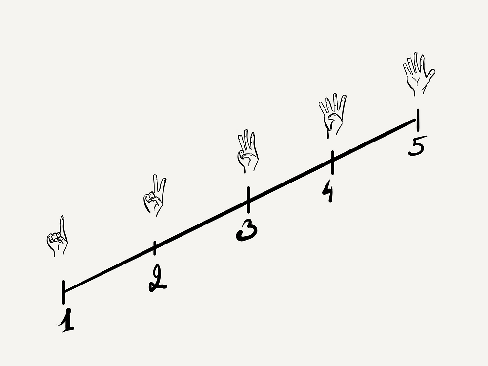5 Finger Voting with fingers and numbers