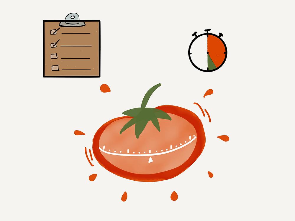 Pomodoro technique picture of tomato and timer