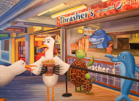 """Feathers Off My Fries"" 16x20 Embellished Giclée"