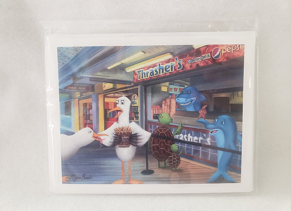 """Single Pack Notecard - """"Feathers Off My Fries"""""""