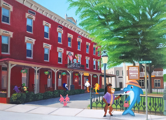 """Small Town Charm"" 16x20 Embellished Giclée"