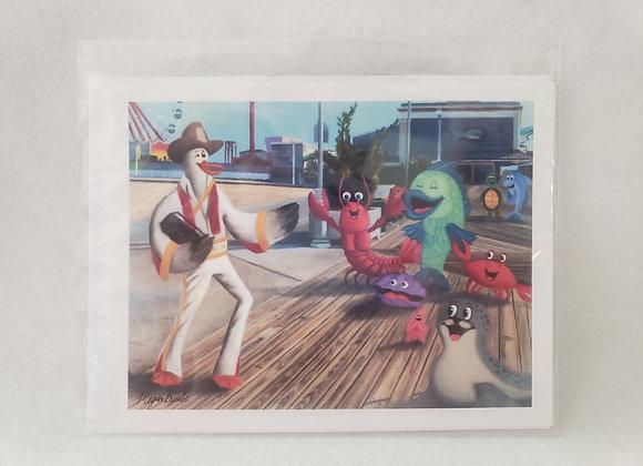 "Single Pack Notecard - ""Boardwalk Elvis"""