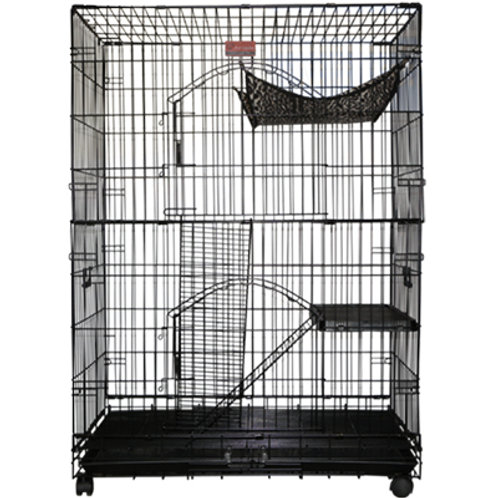 Cat Cage 3 Layers with Wire Flooring (BLACK / PURPLE)