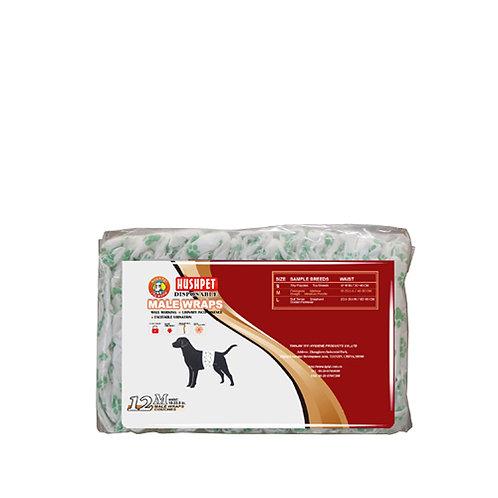 Hush Pet Male Wrap Diaper (M) 12's