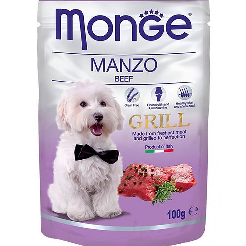 Monge Pouch Grill Grain Free Chunkies BEEF 100G (ONE day advance ordering)