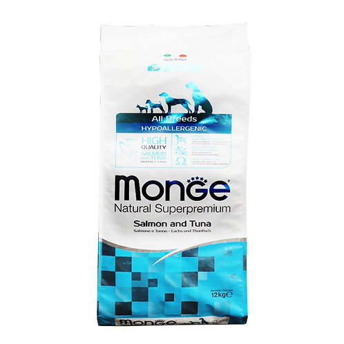 Monge All Breed Dog -HYPOALLERGENIC- Salmon & Tuna 12KG (ONE day advance order)