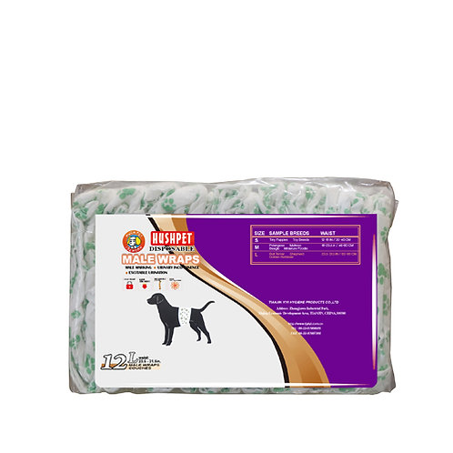 Hush Pet Male Wrap Diaper (L) 12's